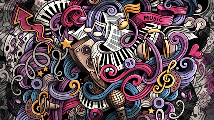 Doodles Music illustration. Creative musical background