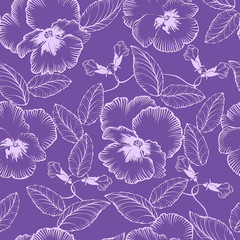 seamless pattern with flowers violets