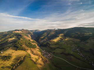 arial view of majestic landscape with hills and town in Germany