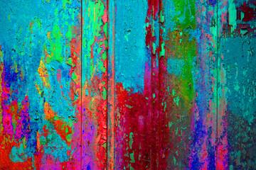 Abgeplatzte Farbe blau pink rot grün