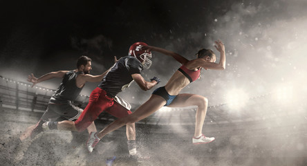Multi sports collage about basketball, American football players and fit running woman