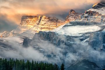 Autumn Sunrise on Mount Rundle from Two Jack Lake - Banff National Park