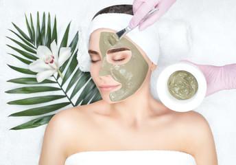 Procedura nakładania maski z gliny na twarz pięknej kobiety. Zabiegi spa i pielęgnacja twarzy w salonie piękności.