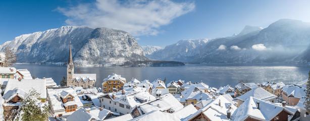 Hallstatt rooftops panorama in winter, Austria