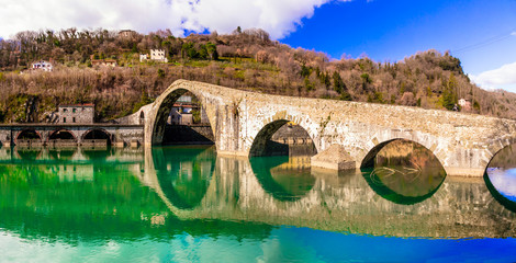 Ponte della Maddalena- picturesque scenery with ancient bridge in the Italian province of Lucca