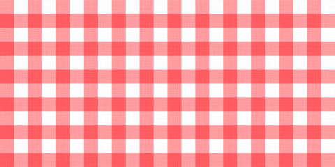 Vector gingham striped checkered blanket tablecloth. Seamless white red table cloth napkin pattern background with natural textile texture. Country fabric material for breakfast or dinner picnic