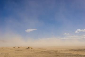 Szeroka piaszczysta pustynia w klimacie suszy objętym wietrzną burzą piaskową.