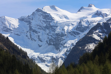 Gran Paradiso Massif seen from Cogne. Valle D'Aosta. Italy