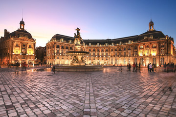 Place De La Bourse in Bordeaux, France. A Unesco World Heritage