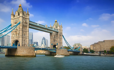 Famous London Tower Bridge over the River Thames on a sunny