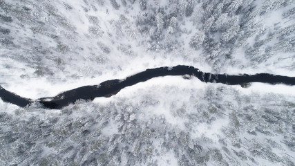 Aerial view of river bend and boreal forest covered by snow