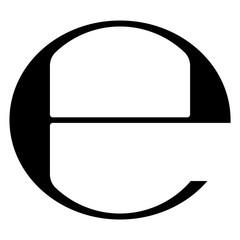 Estimated sign vector illustration. Isolated black e-mark or e symbol on white background