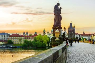 Sunrise at the Charles Bridge in Prague, Czech Republic