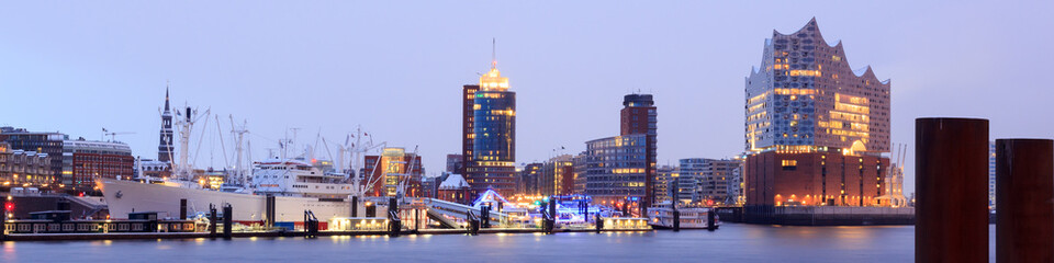 Elbe Philharmonic Hall (Elbphilharmonie) and River Elbe panorama in winter at morning with snow in Hamburg, Germany