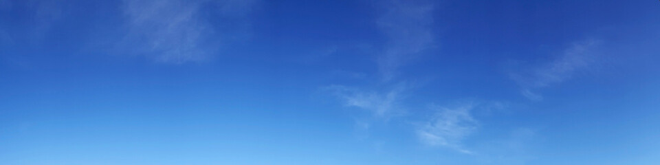 Vibrant color panoramic sky with cloud on a sunny day. Beautiful cirrus cloud.