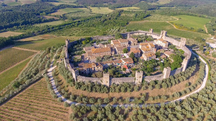 Monteriggioni aerial view, Tuscany in summer