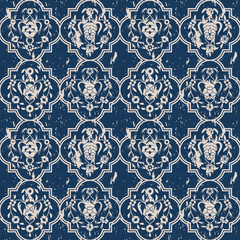 seamless vector blue pattern with arabesques and vintage print. design for interior, textile, packaging
