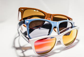 Sunglasses in different colors and shapes. Great accessory for clothing.