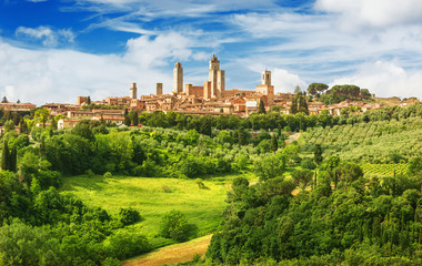 Panorama of San Gimignano and vineyards around this Italian beautiful city (UNESCO heritage),Italy