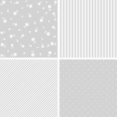 cute seamless baby shower pattern set