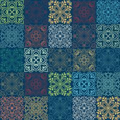Seamless vector tile pattern. Colorful lisbon, mediterranean floral ornament pattern. Square flower blue mosaic. Islam, Arabic, Turkish, Pakistan Moroccan Portuguese motifs vector