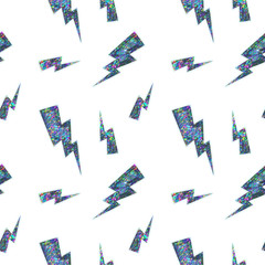 Seamless Holographic Stickers Pattern. Lightning on white