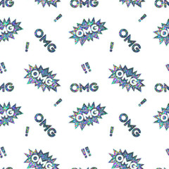 Seamless Holographic Stickers Pattern. OMG and exclamation point