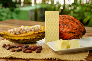 White chocolate bar, raw cocoa fruit, cacao beans, cacao butter on wooden table