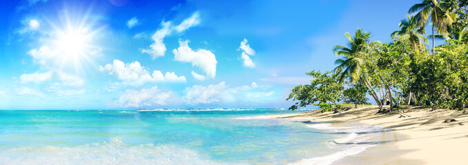 Ferien, Tourismus, Sommer, Sonne, Strand, Meer, Glück, Entspannung, Meditation: Traumurlaub an einem einsamen, karibischen Strand :)