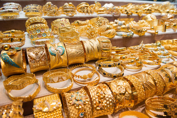 Display with jewellery in gold souk in Dubai
