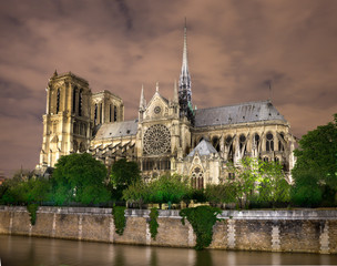 Pont Saint-Michel, Quai des Grands Augustins, night, bridge, river, seine river, eiffel tower, notre dame, seine, paris, city, panorama, view, cityscape, architecture, skyline, building, river, europe