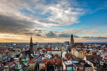 Sunset over the old town in Wroclaw, Silesia, Poland