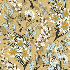 Vintage seamless floral pattern on a black background. Spring flowers and herb. Botanical vector illustration. Blue and beige.