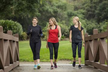 Grupuj kobiety po trzydziestce, które razem chodzą na zewnątrz.
