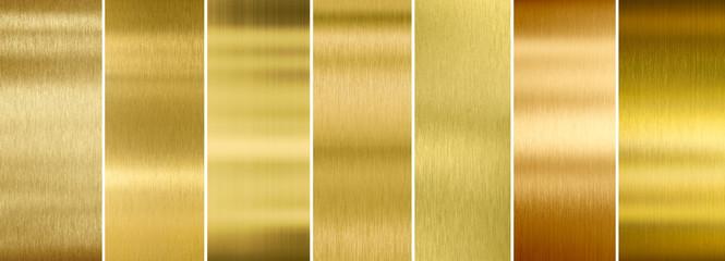 Siedem różnych zestawów tekstur ze szczotkowanego złota