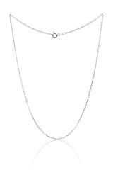 Srebrny naszyjnik łańcuch, luksusowa biżuteria na białym tle