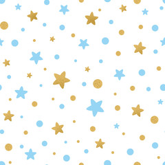 Vector seamless pattern decoreted gold blue stars for Christmas backgound, birthday baby shower textile