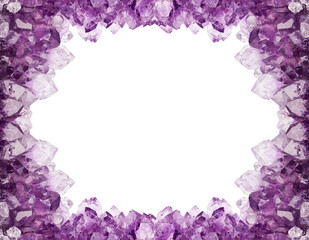 isolated light amethyst crystals frame