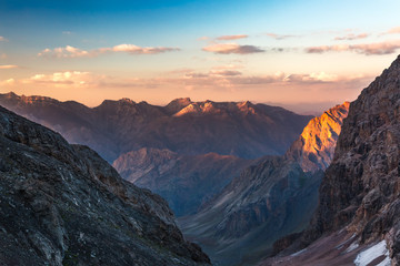 Colorful mountain peaks on sunset