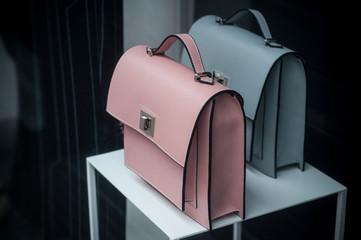 closeup of handbag in women fashion store showroom