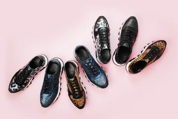 Stylish various sneakers. Fashion design