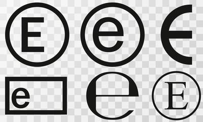 Vector illustration estimated sign, e-mark set, e symbol isolated on Transparent background
