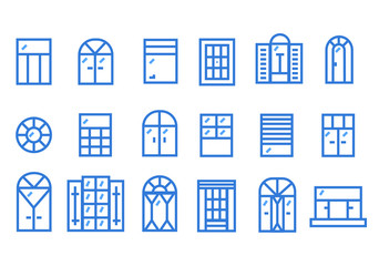Indoor windows of various forms line art flat design. Classic front view decoration.