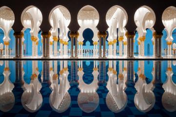 Amazing night reflection at Mosque, Abu Dhabi, United Arab Emirates