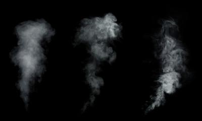 White smoke, fog collection isolated on black background.