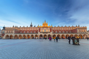 Architecture of The Krakow Cloth Hall at dusk, Poland.