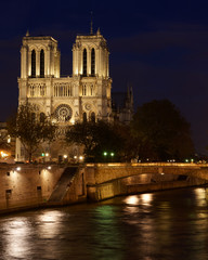 The towers of Notre Dame at night, Paris, France