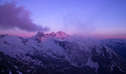 Gran Paradiso peak (4061m) in Italy Alps, sunset scene