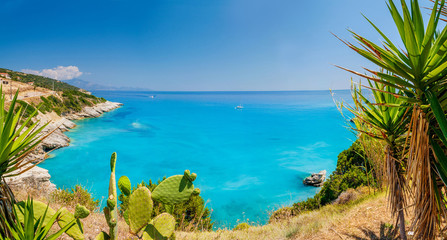 Beautiful sunny view of one of the Zakynthos beaches, Greece