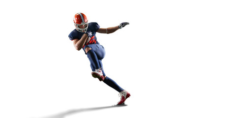 Isolated American football player in white background